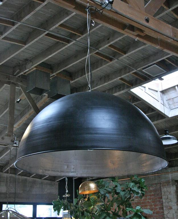 Pair of Italians Industrial Iron Cupola with Silver Leaf Interior 5