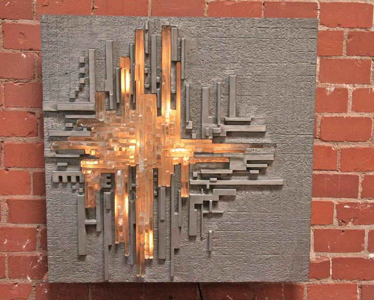 "Illuminated Wall Sculpture Poliarte ""Rottura Spaziale"" by Akikaze 3"