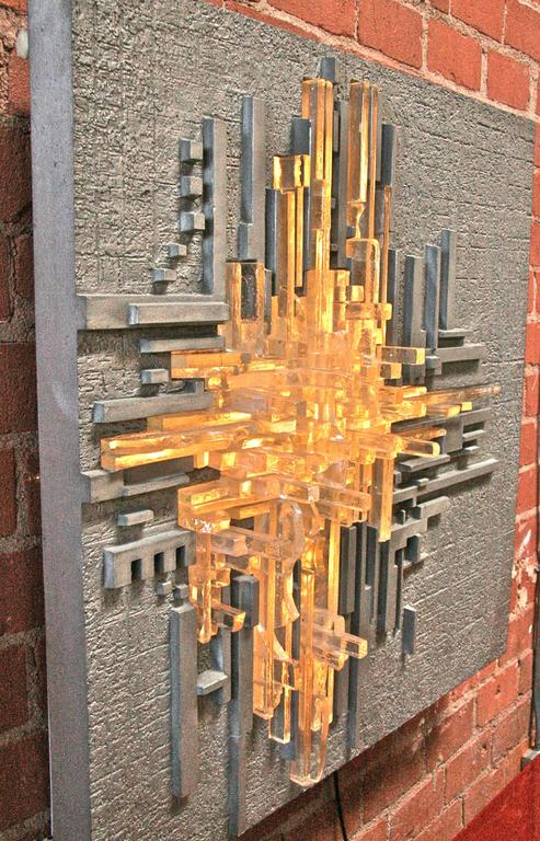 "Illuminated Wall Sculpture Poliarte ""Rottura Spaziale"" by Akikaze 4"