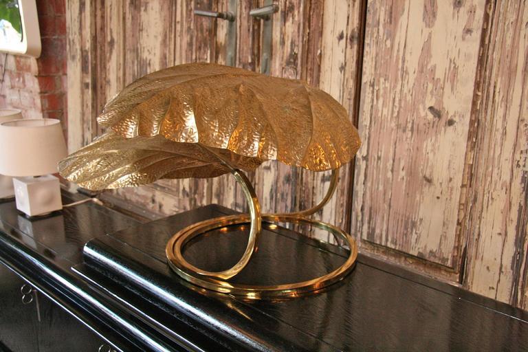 Italian 1970s Regency Brass Leaf Motif Floor Light by Tommaso Barbi 3