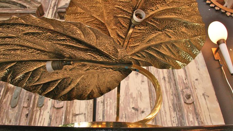 Italian 1970s Regency Brass Leaf Motif Floor Light by Tommaso Barbi 5