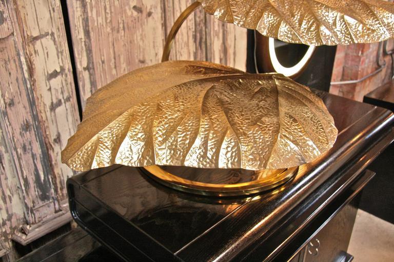 Italian 1970s Regency Brass Leaf Motif Floor Light by Tommaso Barbi 7