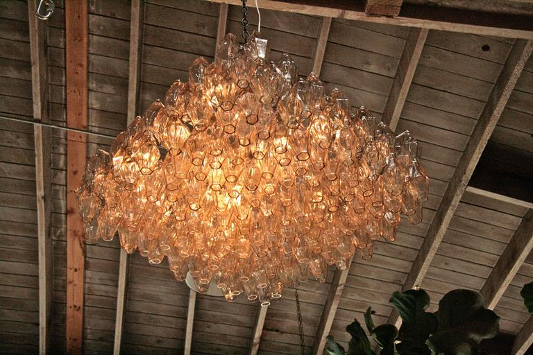 Italian Murano Square Chandelier by Tobia Scarpa for Venini For Sale 3