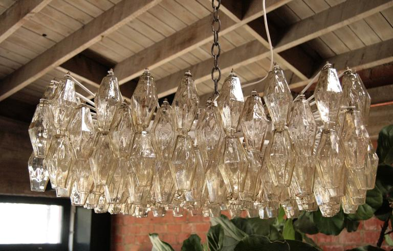 Italian Murano Square Chandelier by Tobia Scarpa for Venini For Sale 4
