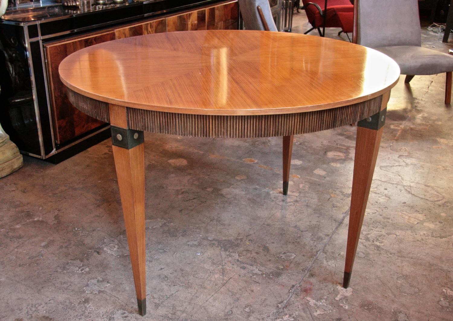 Italian Round Dining Table In Walnut With Bronze Inserts