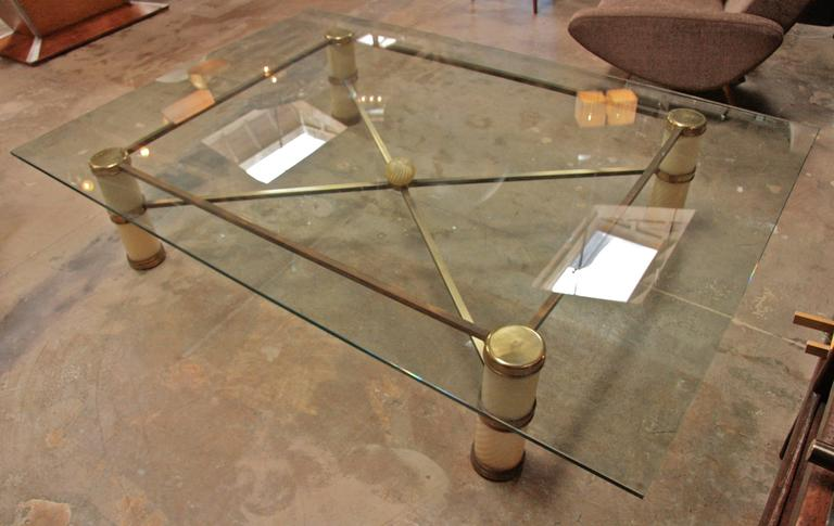 Giant Coffee Table by Tommaso Barbi with Spiral Murano Glass and Brass 2