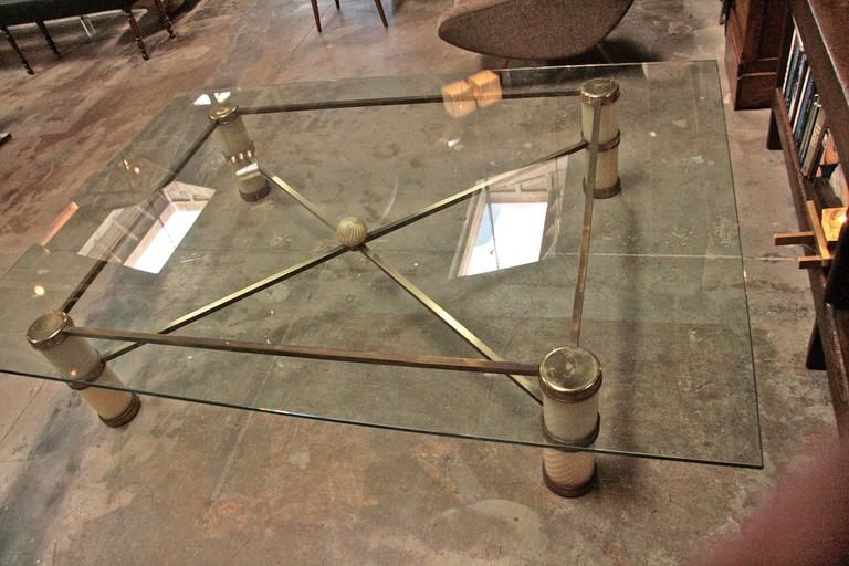 Giant Coffee Table by Tommaso Barbi with Spiral Murano Glass and Brass 3