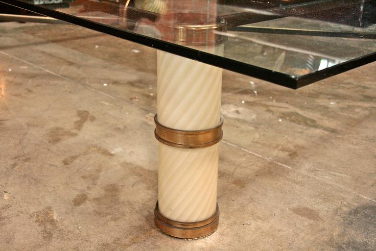 Giant Coffee Table by Tommaso Barbi with Spiral Murano Glass and Brass 4