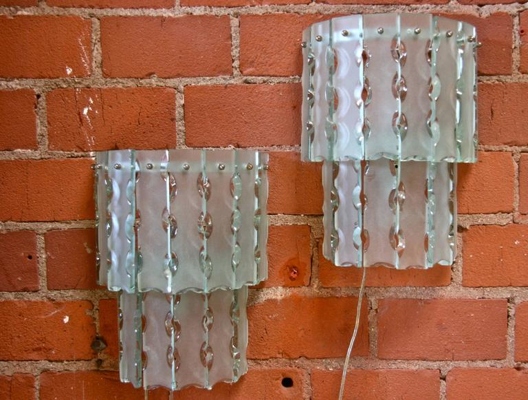 Pair of Italian Beveled Glass Sconces by Cristal Art 2