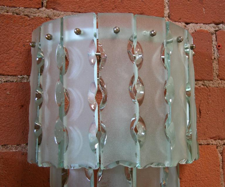 Pair of Italian Beveled Glass Sconces by Cristal Art 5