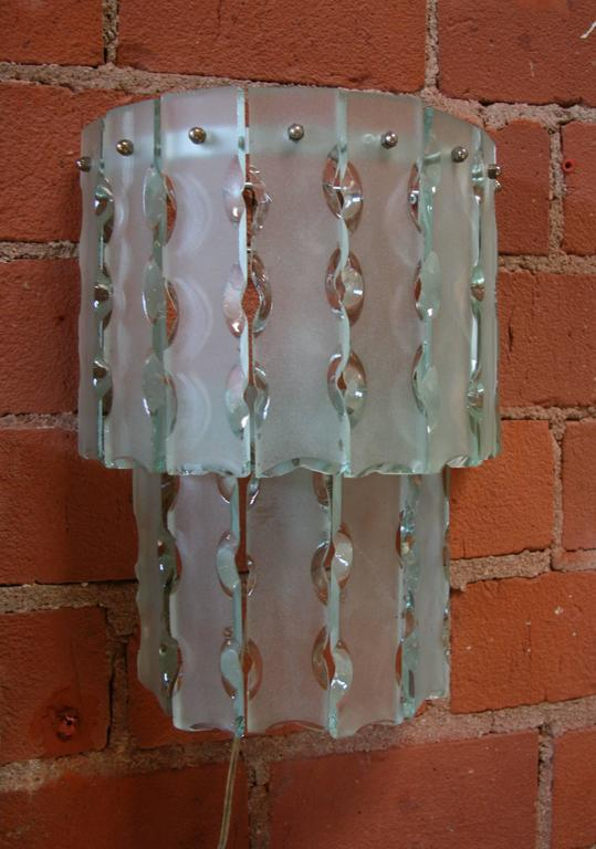 Pair of Italian Beveled Glass Sconces by Cristal Art 6