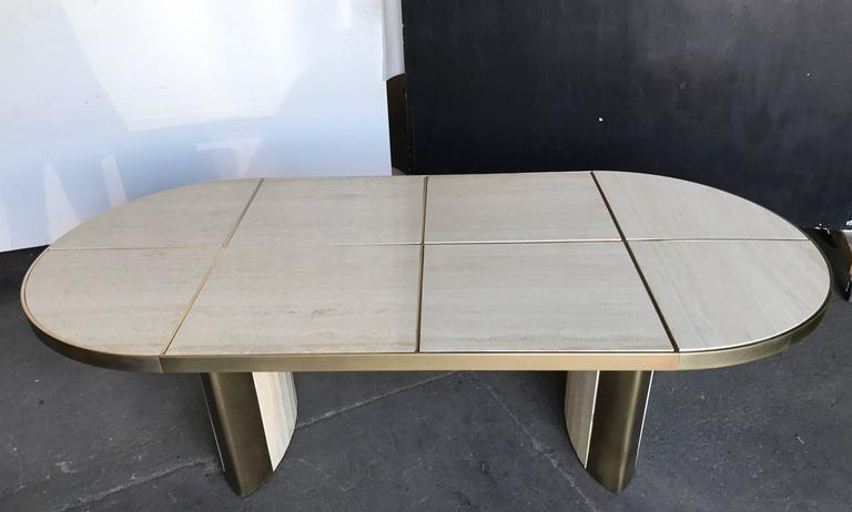 Italian Travertine Marble Oval Dining Table, 1970 For Sale 1