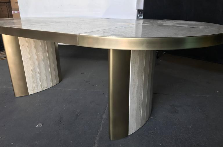 Italian Travertine Marble Oval Dining Table, 1970 For Sale 2