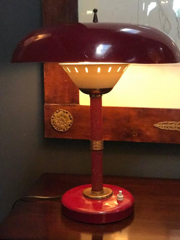Arredoluce Attributed Table Lamp 1950s Whit Original Red Leather For Sale 1