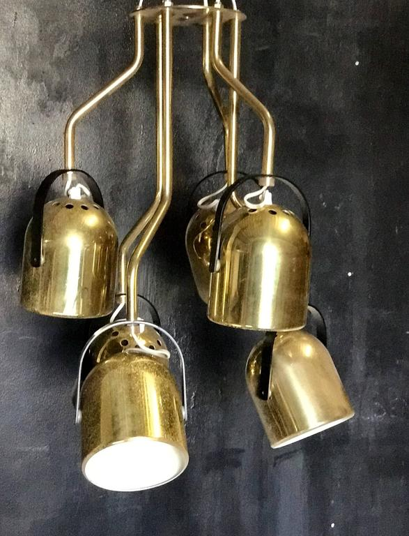 Italian 1970s Brass Pendant Light In Good Condition For Sale In Los Angeles, CA