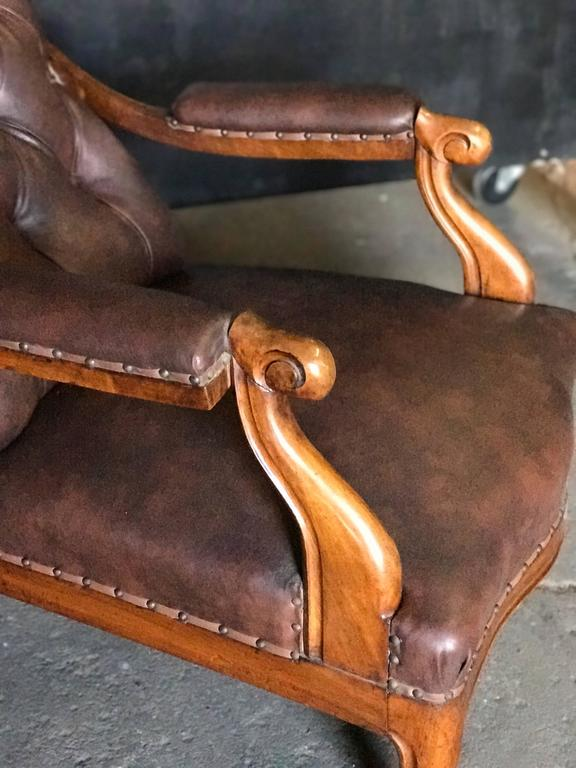 Italian Tufted Leather and Walnut Bergère 3
