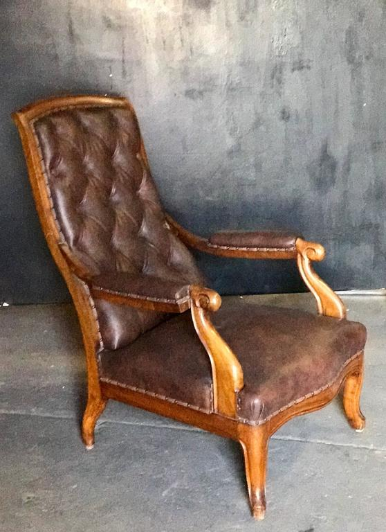 Italian Tufted Leather and Walnut Bergère 2