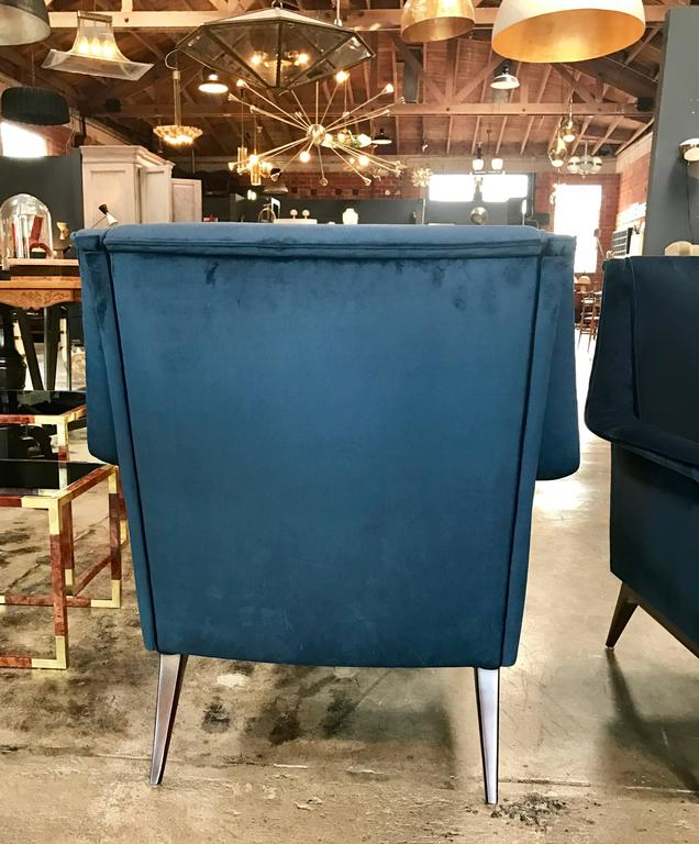 Mid-20th Century Italian 1960s Blue Armchairs by Anonima Castelli For Sale