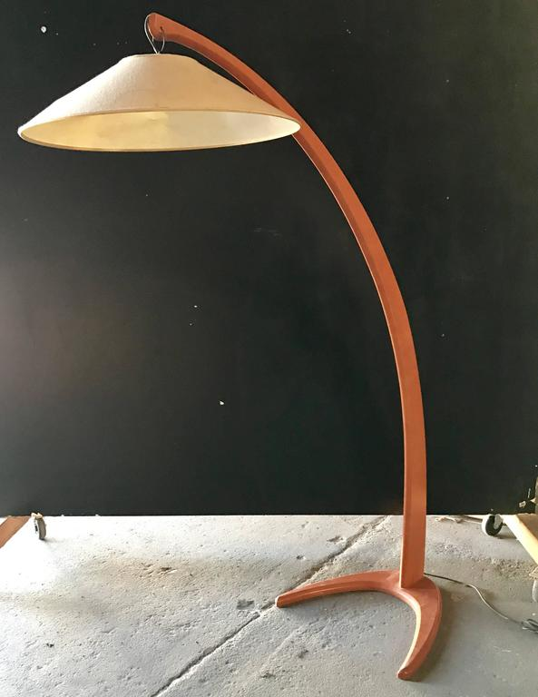 Italian 1950s Wood Arc Floor Light 3