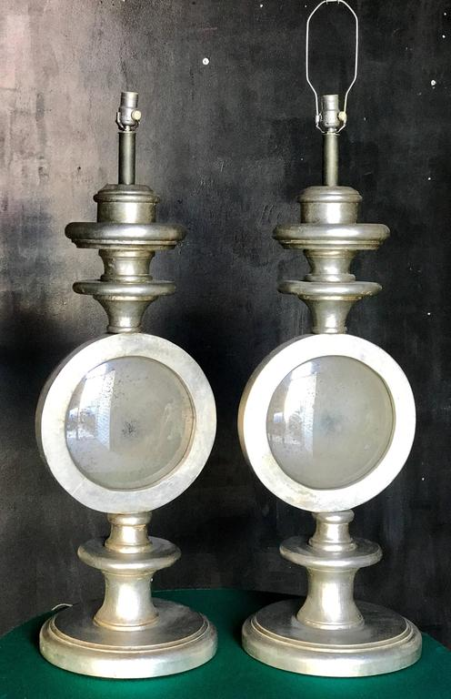 Oversize Italian Silver Leaf Table Lamps, Pair 2