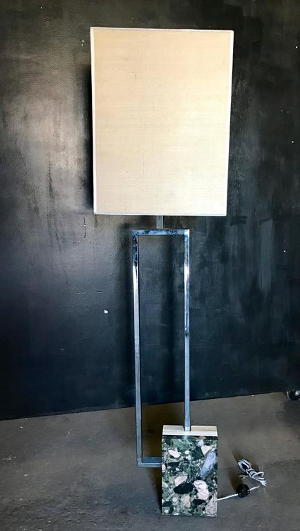 Italian floor lamp chrome-plated with marble base and custom shade.