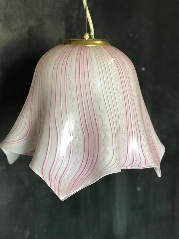 Murano pendant lighting from the 60s with unusual shape and adjustable height.