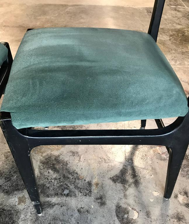 Suede Pair of Gio Ponti Leggera Dining Chairs For Sale