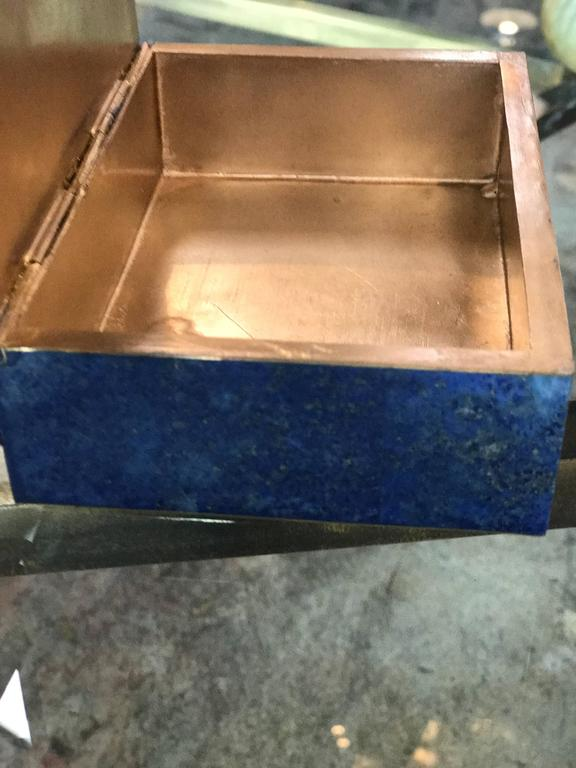 Exquisite Lapis Lazuli Gilt Bronze Jewelry Dresser Box, 1950s 5