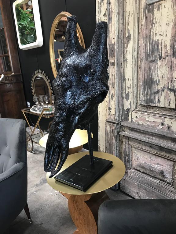 Giraffe Resin Skull with Leather Pedestal 3