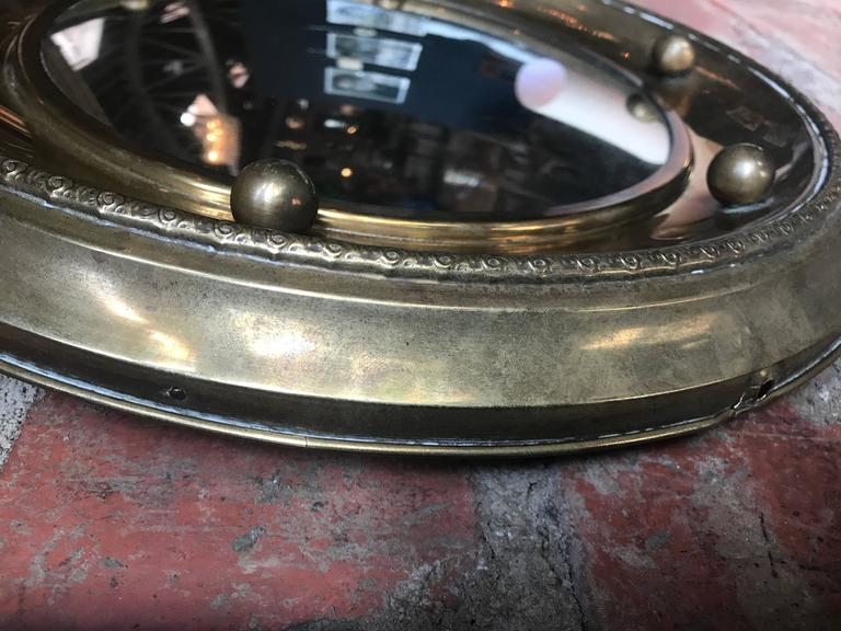 Italian Round Mirror in Brass, 1920 For Sale 2