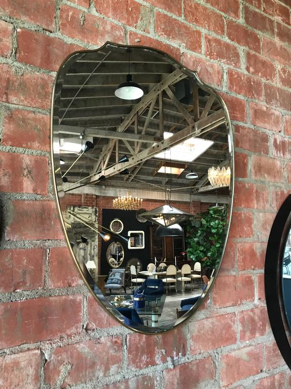 Italian Brass Shield Shaped Framed Mirror 2