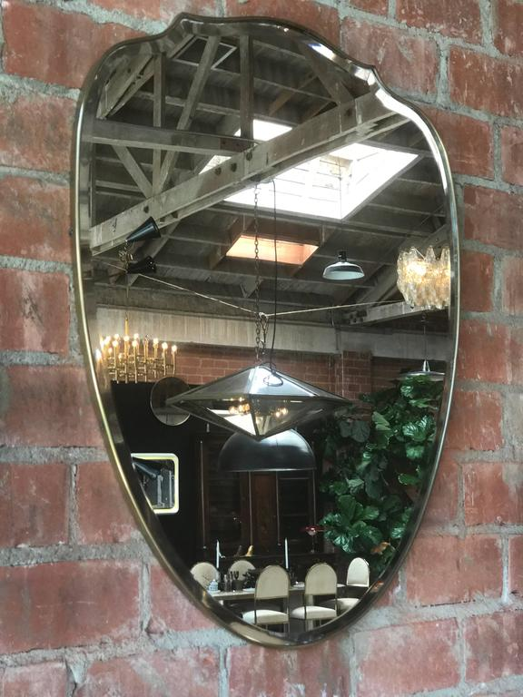 Italian Brass Shield Shaped Framed Mirror 5