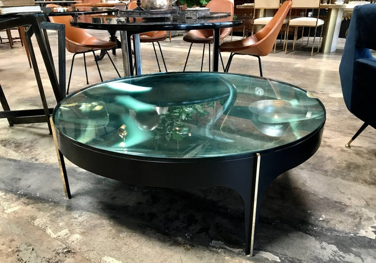 Italian ma+39's Custom Black and Brass Magnifying Lens Coffee Table For Sale