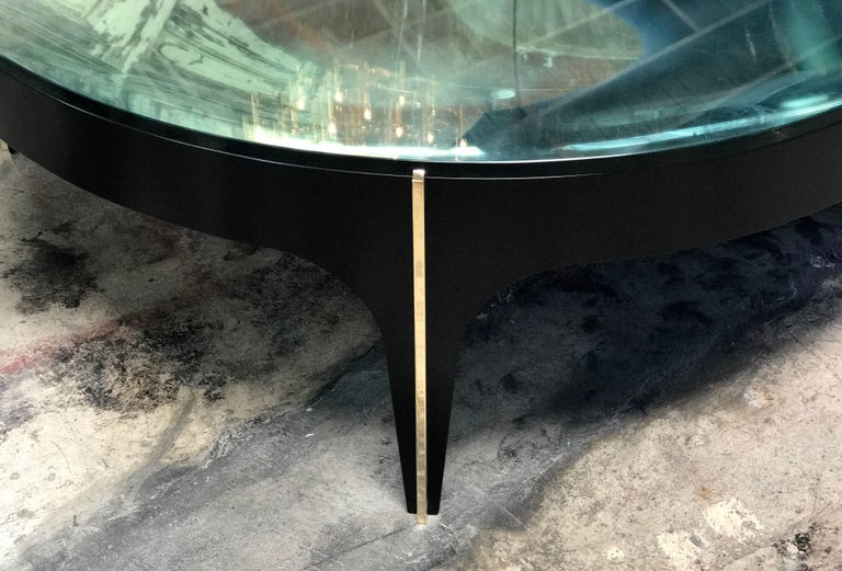 ma+39's Custom Black and Brass Magnifying Lens Coffee Table In Excellent Condition For Sale In Los Angeles, CA