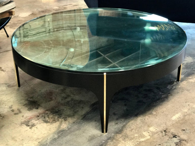 Contemporary ma+39's Custom Black and Brass Magnifying Lens Coffee Table For Sale