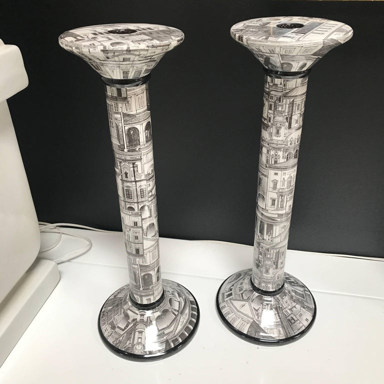 Italian 1960s Black and White Pair of Candlesticks 2