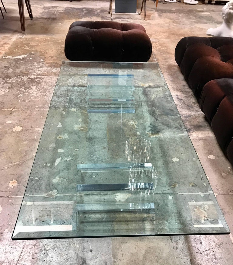 Beautiful Lucite Italian Coffee Table Base With Thick Glass Top For Sale At 1stdibs
