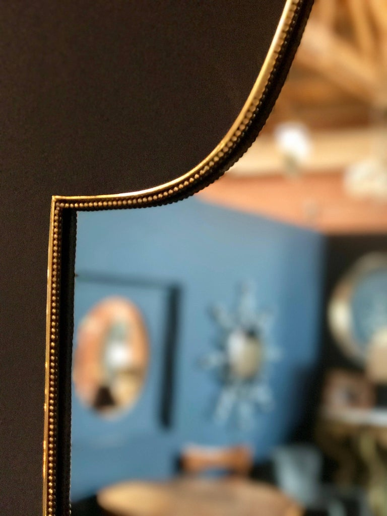 "Vintage 1960s Italian ""Scudo"" Long Mirror in Brass Trim 5"
