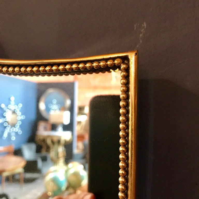 "Vintage 1960s Italian ""Scudo"" Long Mirror in Brass Trim 4"
