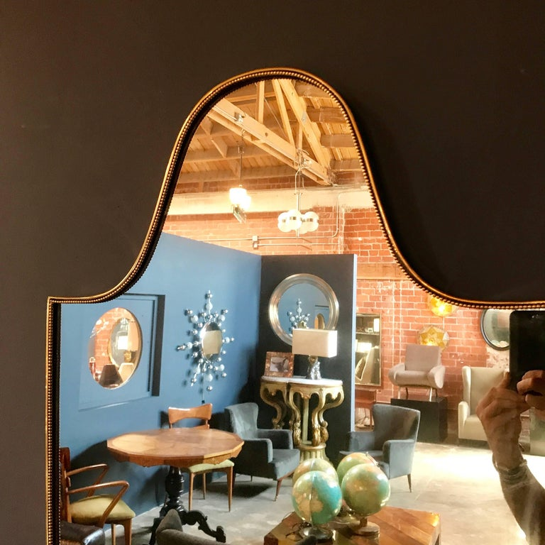 Vintage 1960s italian scudo long mirror in brass trim for Long wall mirrors for sale