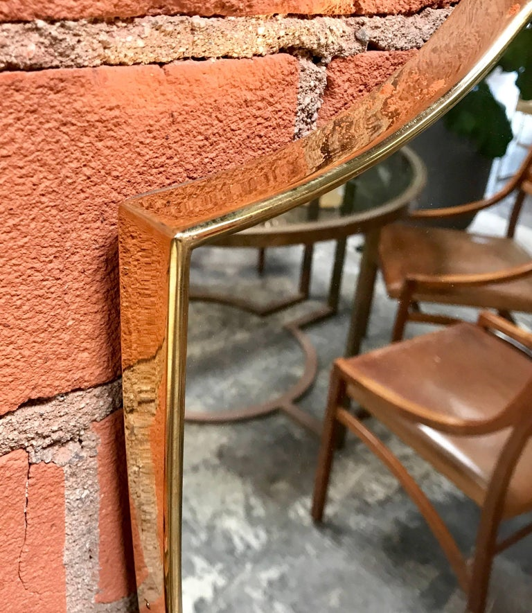 Vintage 1960s Italian Mirror with Brass Frame In Excellent Condition For Sale In Los Angeles, CA