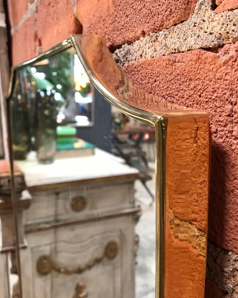 Vintage 1960s Italian Mirror with Brass Frame For Sale 1