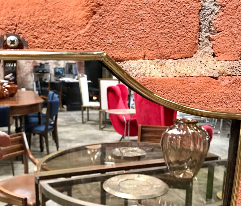 Mid-20th Century Vintage 1960s Italian Mirror with Brass Frame For Sale