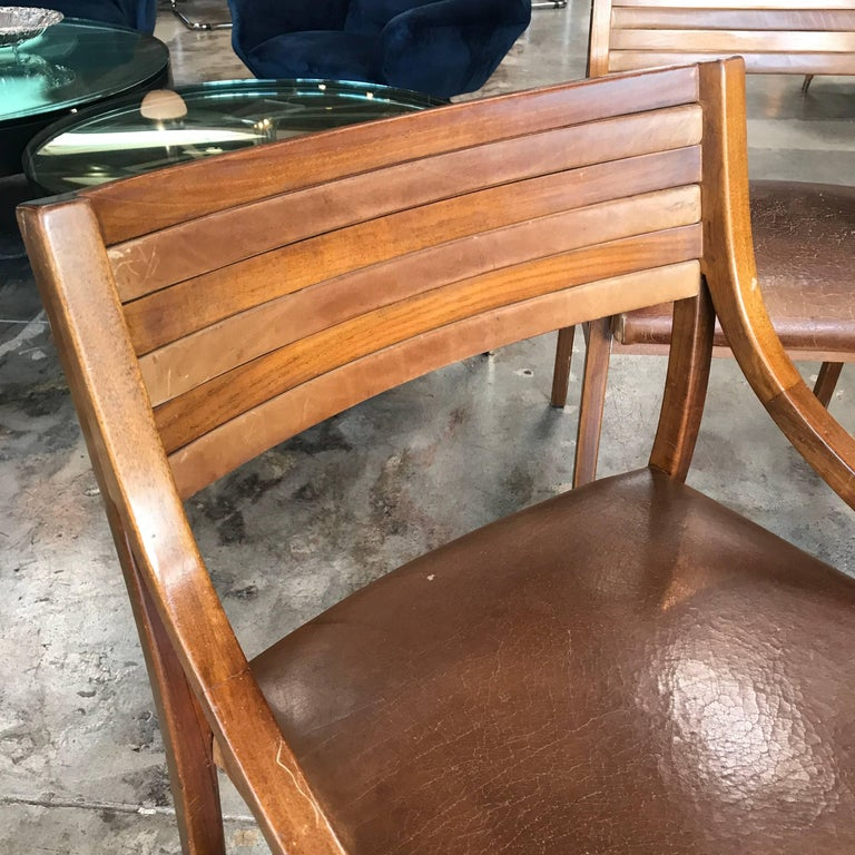 Ico Parisi Mod 110, Italian Walnut and Leather Dining Chairs 1959 For Sale 1