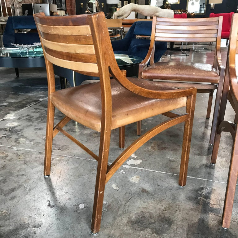 Ico Parisi Mod 110, Italian Walnut and Leather Dining Chairs 1959 For Sale 2