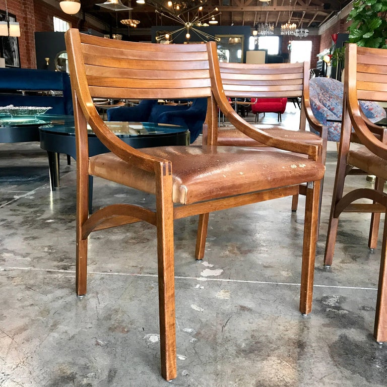 Ico Parisi Mod 110, Italian Walnut and Leather Dining Chairs 1959 In Good Condition For Sale In Los Angeles, CA