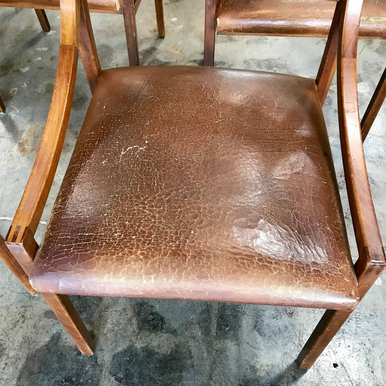 Mid-20th Century Ico Parisi Mod 110, Italian Walnut and Leather Dining Chairs 1959 For Sale