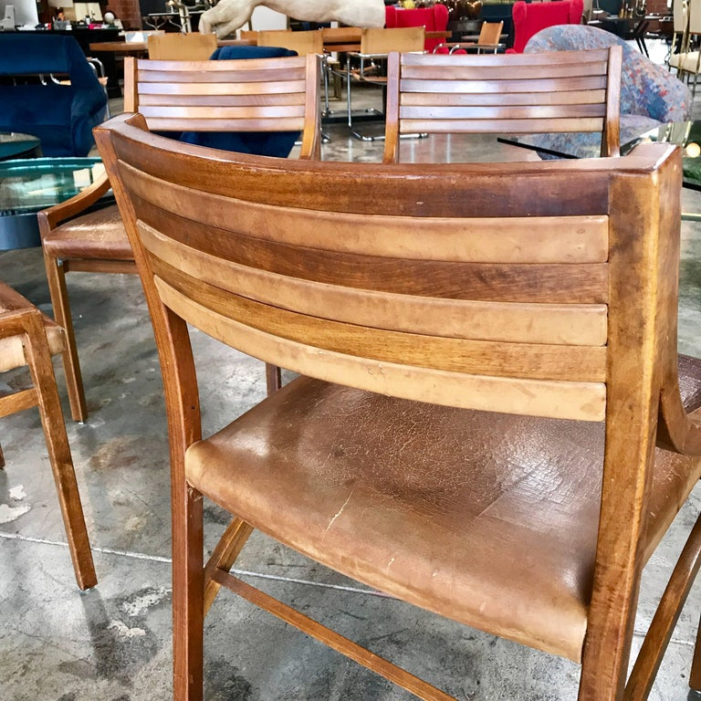 Ico Parisi Mod 110, Italian Walnut and Leather Dining Chairs 1959 For Sale 3