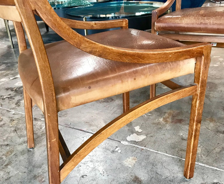 Ico Parisi Mod 110, Italian Walnut and Leather Dining Chairs 1959 For Sale 4
