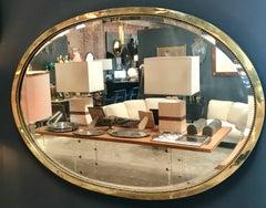 Brass Oval Italian Mirror, 1960s